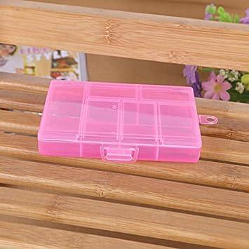 Suesshop - Caja de Almacenamiento para Joyas, con separadores, 6 Rejillas (plástico Transparente) para Cuentas, Pendientes, Anillos, Pastillas, uñas: Amazon.es: Hogar