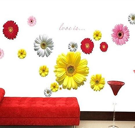 Colorida flor de la margarita extrašªble PVC pared pegatinas Room ...