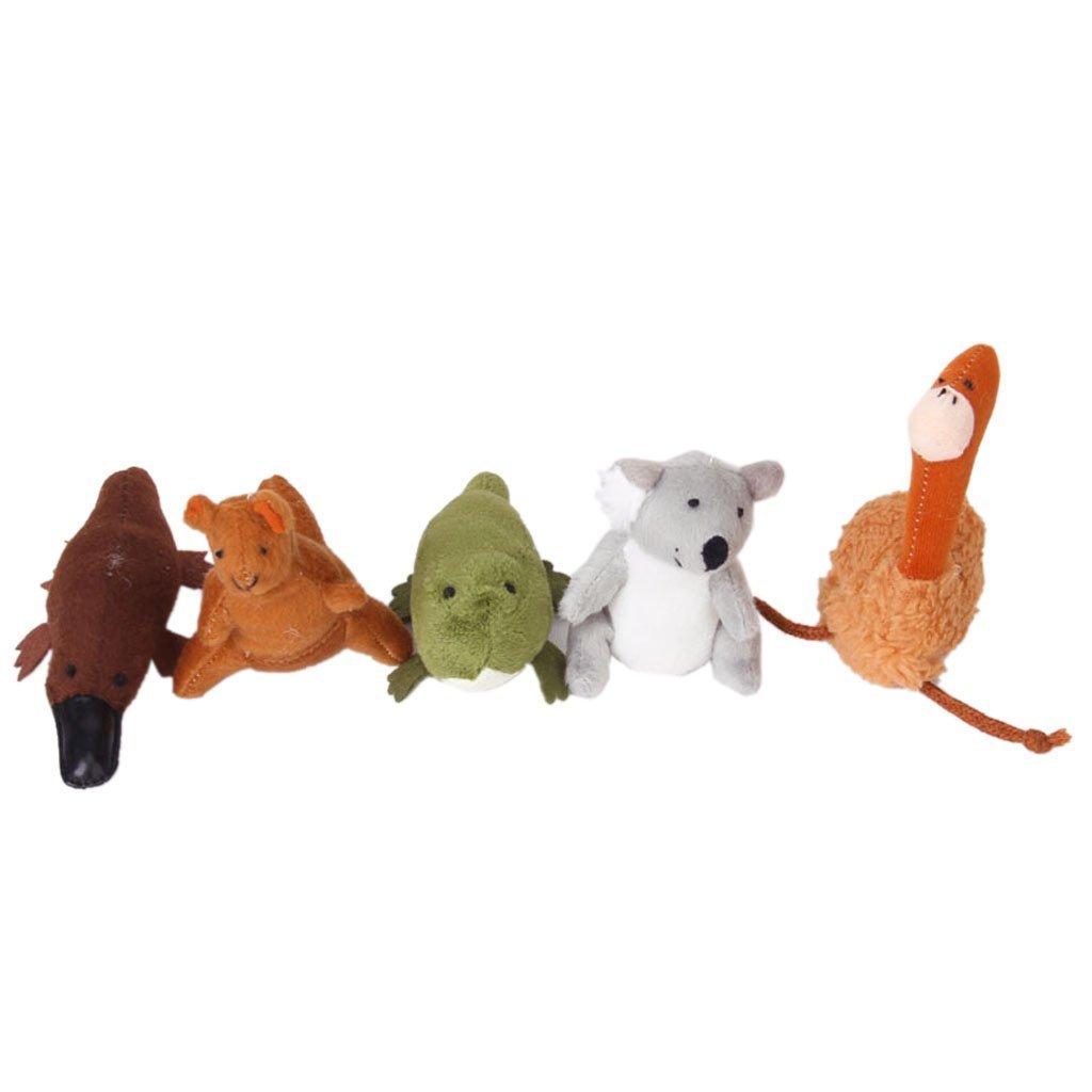Beito 5 Australia Unique Animals Finger Puppets--Koala,Kangaroo,Platypus,Ostrich,Crocodile