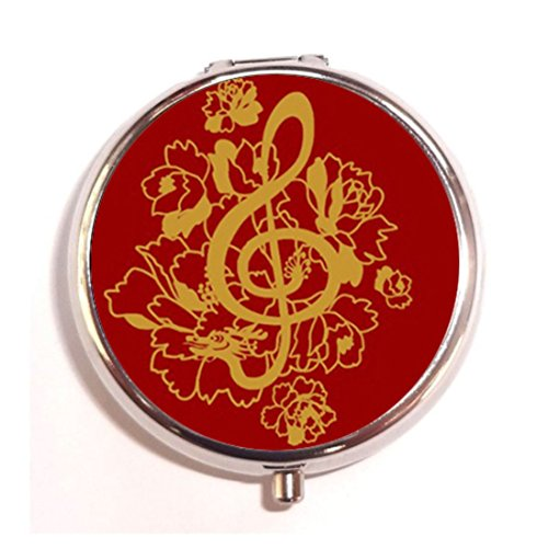 Dragon Treble Clef Peonies Music Custom Fashion Pill Box Medicine Tablet Holder Organizer Case for Pocket or Purse (Music Peony Box)