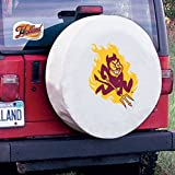 Arizona State Tire Cover with Sun Devils Logo on White Vinyl Size: Universal Large - 31.25 x 11 Inch