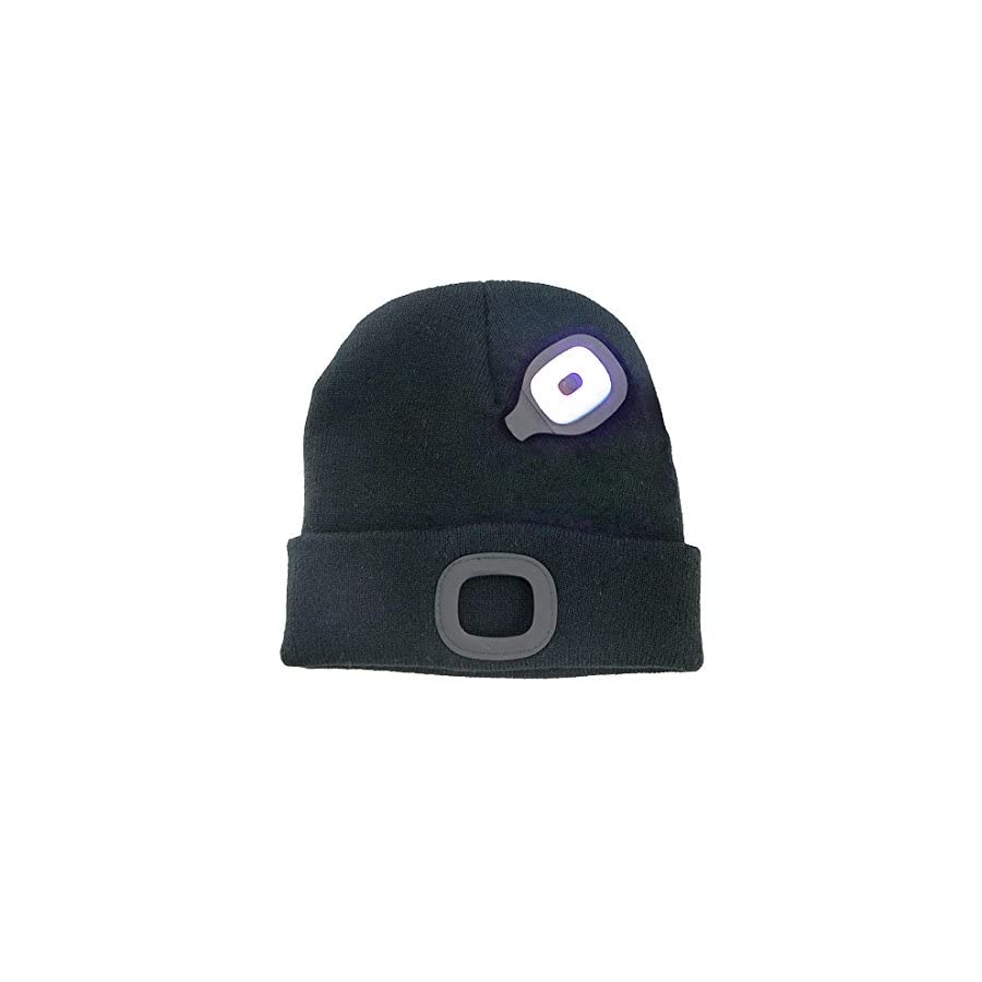 TAGVO USB Rechargeable LED Beanie Cap, Lighting and Flashing Alarm Modes 8 LED Hands Free Flashlight, Easy Install Quick Release Headlamp Beanie, Unisex Winter Warmer Knit Cap Hat Black/Grey