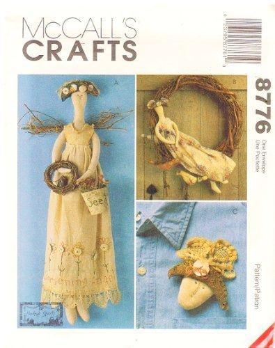 Gardening Angel Pins - McCall's 8776 Craft Pattern 22 Inch Gardening Angel Doll, Wreath, Angel Head Pin