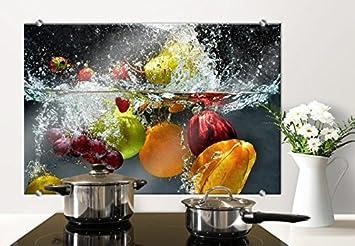 Spritzschutz Glasbild - Erfrischendes Obst - mit abgerundeten Ecken ...