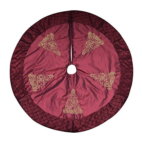 (Alice Doria 48 inch Burgundy Quilted Christmas Tree Skirt with 5 Gold Embroidered Christmas Tree and Pintuck Trim Border)