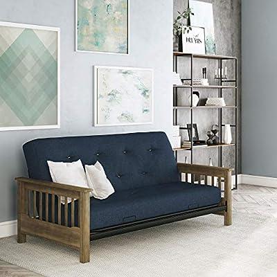 Magnificent Dhp Newport Wood Arm Futon With 6 Coil Blue Linen Mattress Lamtechconsult Wood Chair Design Ideas Lamtechconsultcom