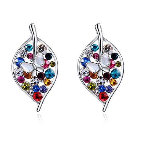 [White Gold Austrian Crystals multicolor Leaf Stud Earrings] (Princess Halloween Costumes Diy)