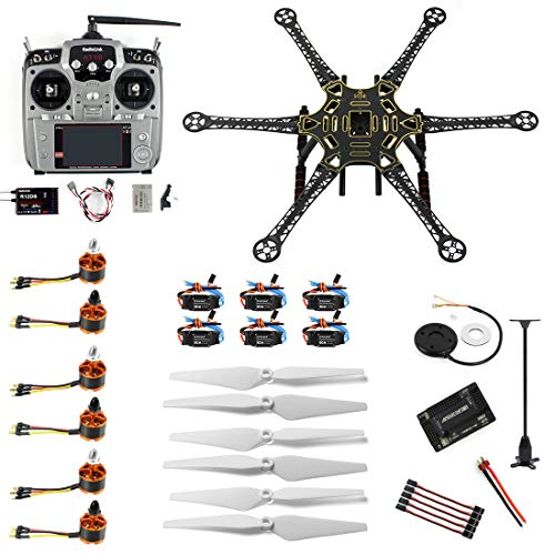 QWinOut Full Set DIY RC Drone 6-axis Aircraft Kit HMF S550 Frame 6M GPS APM 2.8 Flight Control AT10 Transmitter