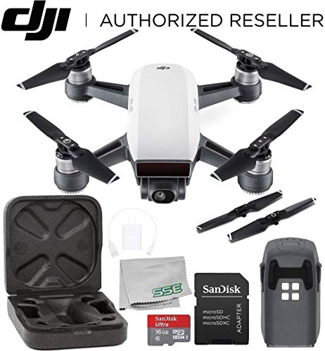 DJI Spark Portable Mini Drone Quadcopter Starters Bundle (Alpine White)