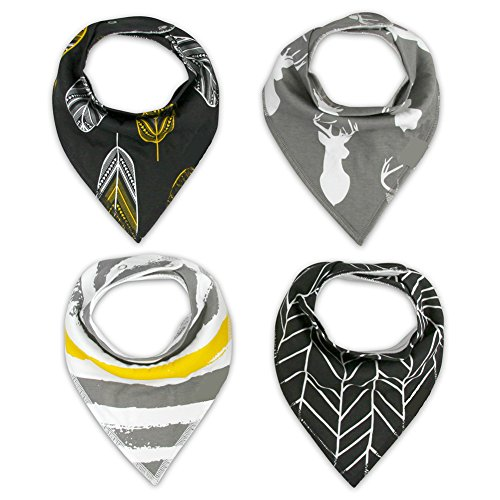 Pack of 4 Cotton Reversible Drool Baby Bibs,HNHC Soft for Boys & Girls (Leaf+Striped+Elk)