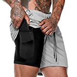 FTIMILD Men Quick-Drying Breathable Running Training Double-Layer Fitness Short Pants Grey