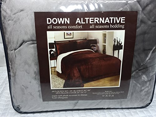 Flannel down alternative sherpa 3pc set blanket 90