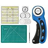 Vivona Hand Tools - 45mm Rotary Cutter + 6Pcs Blades+Self-healing Cutting Mat 22x15cm+Acrylic Quilting Ruler 15x15cm