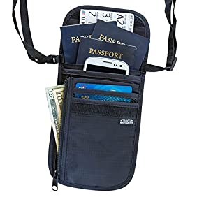 RFID Blocking Neck Stash Passport and Valuables Holder , Unisex , Black or Grey