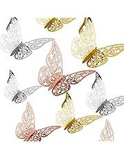 AIEX 36 St 3D Vlinders Ornamenten Levendig Verwijderbare Stickers Met 3 Verschillende Maten, Voor Muurstickers, Kinderkamer Ornamenten, Bruiloft Decor (Goud, zilver, roségoud)
