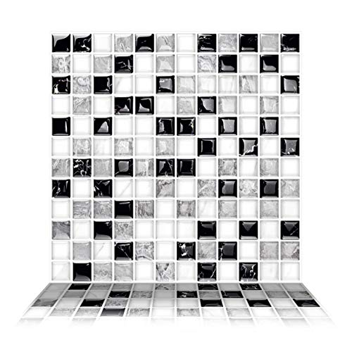 - Tic Tac Tiles - Premium Anti Mold Peel and Stick Wall Tile Backsplash in Mosaic Design (Alaska, 6)
