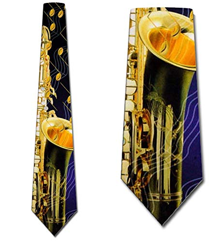 Saxophone and Music Notes Tie Mens Neckties by Three Rooker