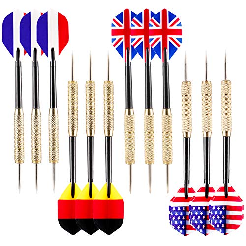 Ohuhu 12 Pcs Tip Darts with National Flag Flights (4 Styles) - Stainless Steel Needle Tip Dart with 3 Free PVC Dart - Package Board Dart