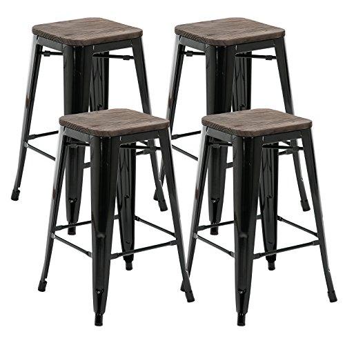 Mecor 26 inch Metal Bar Stool Wood Top Seat Retro Style Bar Chair (Black, Set of 4)