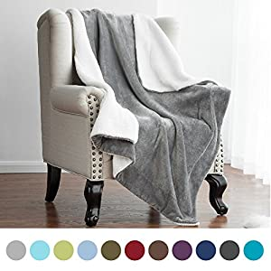"""Bedsure Sherpa Throw Blanket Silver Grey Twin Size Reversible Fuzzy Bed Blankets Microfiber All Seasons Luxury Fluffy Blanket for Bed or Couch 60""""x80"""" by"""