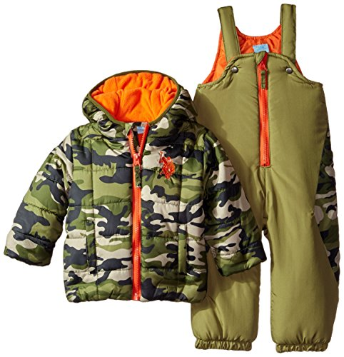 U.S. Polo Assn. Baby Boys' Heavyweight Camo Puffer Snowsuit, Oat Green, 12 Months ()