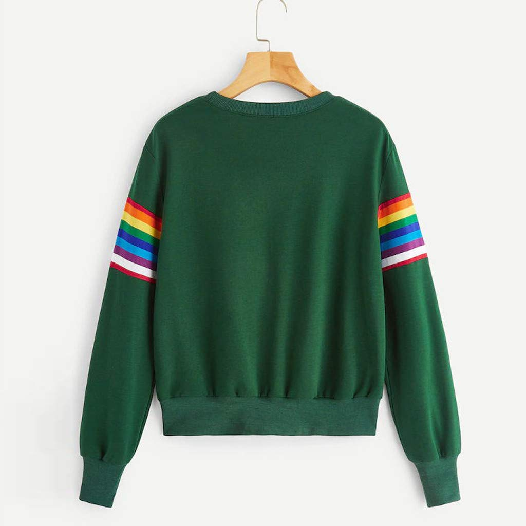 PERFURM Womens Casual Rainbow Print Off Shoulder Shirt Plus Size Sweatshirt Colorful Baggy Tops Cute Striped Pullover