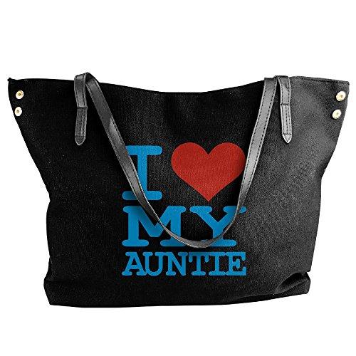 Auntie Hobo Shoulder Handbag My Bag Large Canvas Love Black Women's I Tote x6z8wn