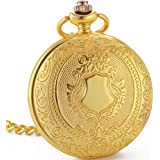 WENSHIDA Pocket Watch Skeleton Mechanical Shield Vintage Mens Women Roman Numerals Luxury Gold Case