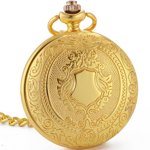 [WENSHIDA Luxury Gold Case Shield Design Pocket Watch Skeleton Mechanical Black Dial Men Women Chain] (Master Chief Suit For Sale)