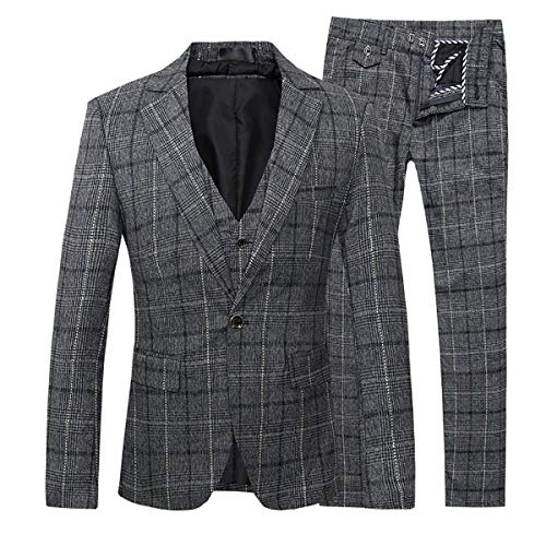 Mens 3-Piece Suit Plaid Modern Fit Single Breasted Smart Formal Wedding Suits, Grey, Large