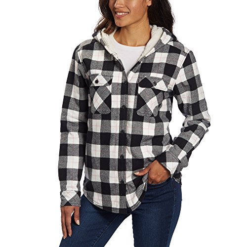 Boston Trader Ladies' Sherpa Lined Hooded Flannel (Black, Large) (Sherpa Women Hoodie Lined)