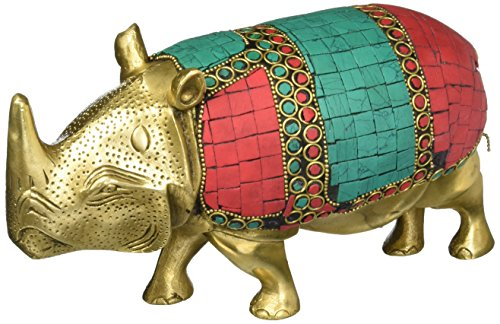 Wild Rhino African Safari Rhinoceros Brass Figurine- Metal Animal Statue Gemstone Artwork
