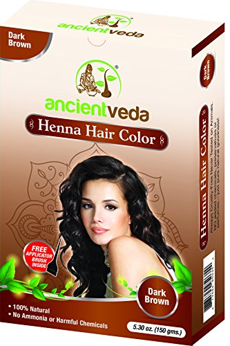 Henna Hair Color Dark Brown with Applicator Brush, 10.6 Oz(Pack of 2 X 150 Gms) - no Ammonia, no Fillers, no Preservatives, no Chemicals, all Natural - Ancient Veda by Ancient Veda