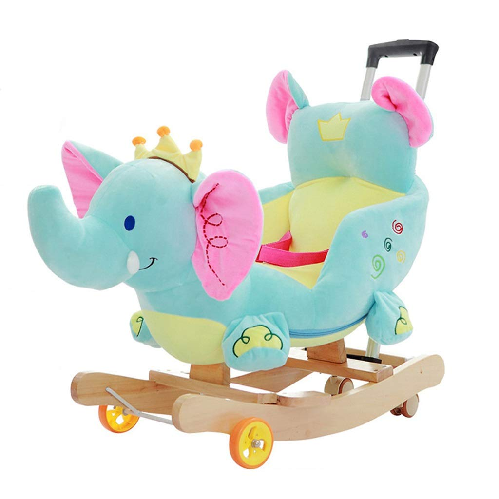 HUXIUPING Schaukelpferd Putter Caster Elefant Trojan Kinder Musik Schaukelstuhl Baby Früherziehung Lernspielzeug