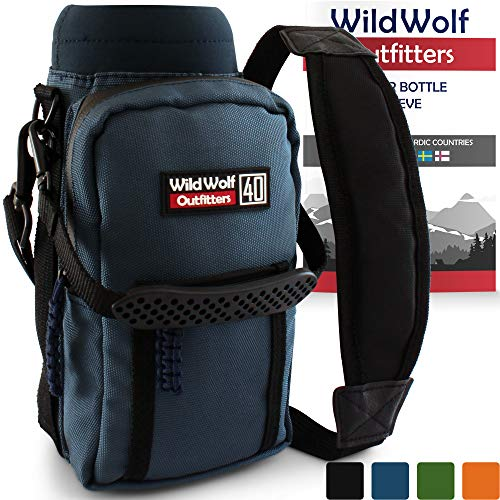Wild Wolf Outfitters Water Bottle Holder for 40oz Bottles Blue - Carry, Protect and Insulate Your Best Flask with This Military Grade Carrier w/ 2 Pockets & an Adjustable Padded - Carrier Water Blue