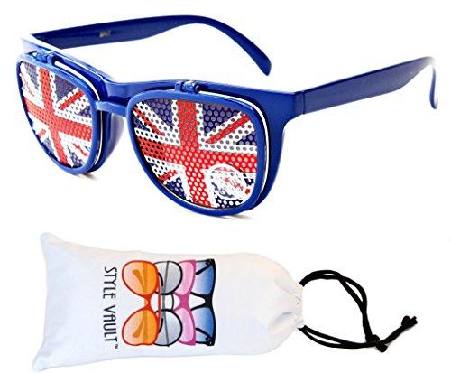 W111-vp Style Vault Flip up Wayfarer Django Sunglasses (S3211V Navy Blue, - Flip Up Sunglasses Uk