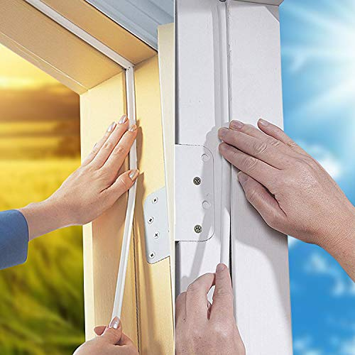 KELIIYO Door Weather Stripping, Window Seal Strip for Doors and Windows- Self-adhisive Foam Weather Strip Door Seal | Soundproof Seal Strip Insulation Gap Blocker Epdm D Type 66ft(20m) 2 Pack (White)