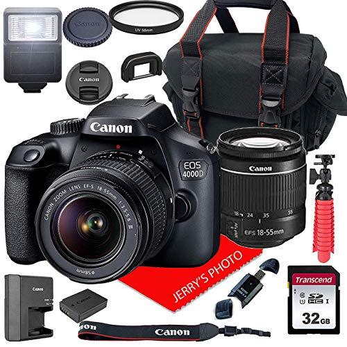 Canon EOS 4000D DSLR Camera w/Canon EF-S 18-55mm F/3.5-5.6 III Zoom Lens + Case + 32GB SD Card (15pc Bundle) (Renewed)