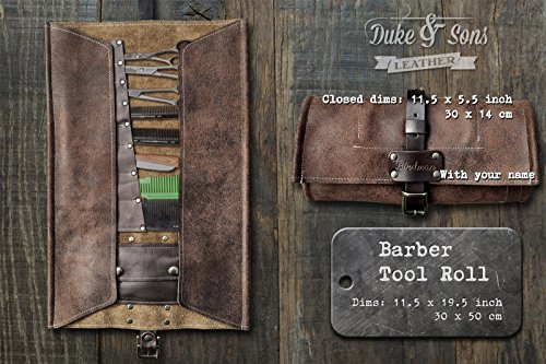 Barber Tool Roll, (leather, handmade and personalized) with pockets for shears,combs and all barber tools by Duke & Sons Leather