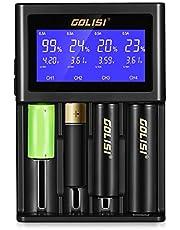 Cargador de Pilas InLife con 4 Ranuras Pantalla LCD Carga rápido para Li-Ion Ni-MH Ni-CD Ni-MD 26650 18650 20700 21700 AAAA AAA AA A SC C Batería Recargable …