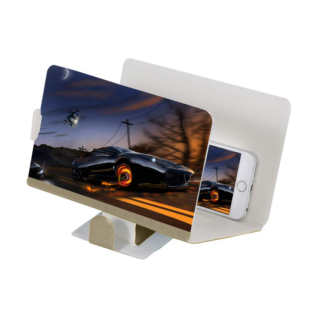 STORTO 3D Acrylic Screen Magnifier Stereoscopic Amplifying 8 Inch Desktop Phone Bracket (Approx. 19.2 x 12.2cm, Gold)