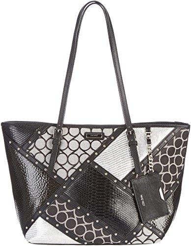 Nine West Patchwork Glitter Tote Handbag Black/grey