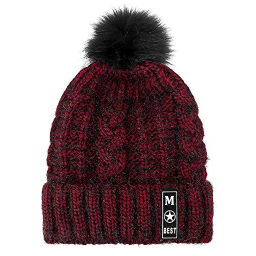 2de2ce1dedc FarJing Fashion Women s Winter Color Matching Hair Ball Knit Hat Thick  Double Warm Caps Hat(