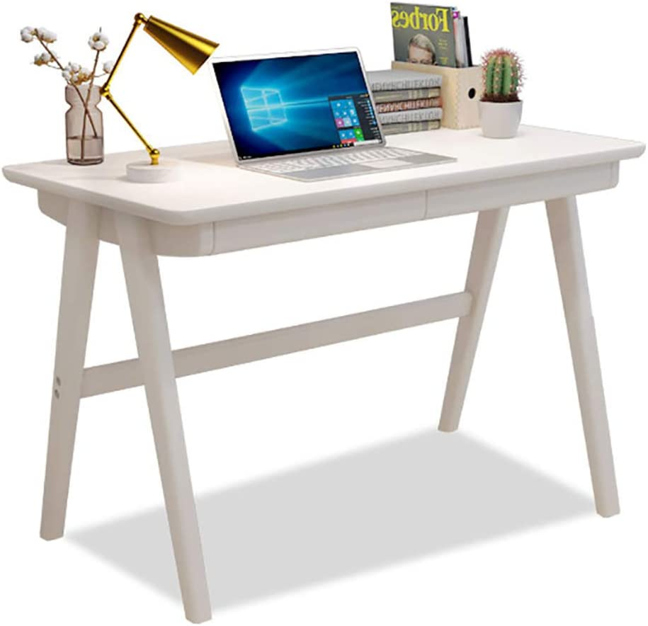 Desk Solid Wood Office Table with Drawer, Heavy Duty Office Desk Writing Study Desk Durable for Home Pc Laptop-c1 80x55cm/31.5x21.6in