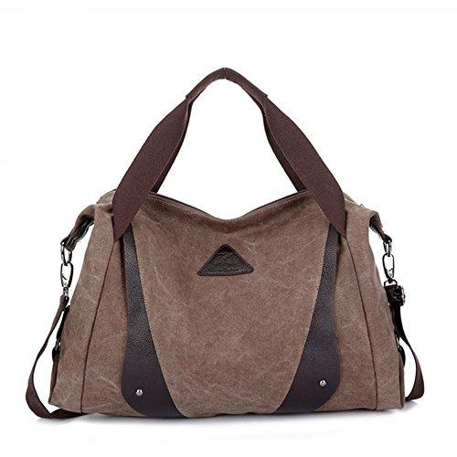 DoubleMay Fashion Damen Mädchen Casual Canvas Handtasche Umhängetasche Schultertasche Tote ideal für Uni Freizeit Einkaufen Outdoor 40 x 12 x 25cm (Lila) Kaffee eLsGe