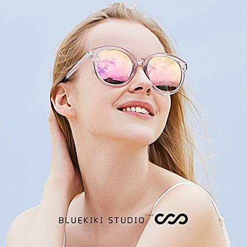 8977512f5e BLUEKIKI YEUX Women Polarized Sunglasses Vintage Oversized Round Mirror(Barbie  pink