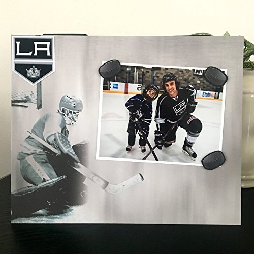 (LA Kings Ice Hockey - Team Player Sports Coach Dad Magnetic Picture Frame Handmade Gift Present Home Decor Size 9 x 11 Holds 5 x 7 Photo )