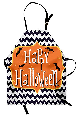 Lunarable Halloween Apron, Cute Halloween Greeting Card Inspired Design Celebration Doodle Chevron, Unisex Kitchen Bib Apron with Adjustable Neck for Cooking Baking Gardening, Indigo White Orange