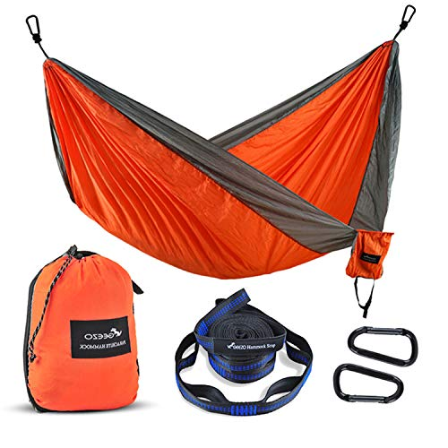 Geezo Double Camping Hammock, Lightweight Portable Parachute (2 Tree Straps 16 LOOPS/10 FT Included)...