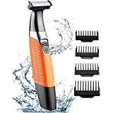 TEUMI Beard Trimmer, Wet and Dry Electric Shaver Razor, USB Rechargeable and Cordless Body Hair Removal for Men Women, Hybrid Precision Trimmer and Edger with 4 Guide Combs & Cleansing Brush